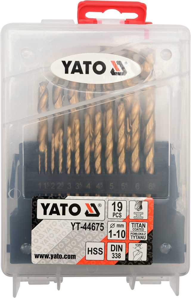 Set burghie pentru metal YATO, HSS-Titan, DIN 338, 19buc 1