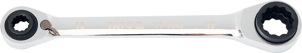 Cheie tubulara dubla YATO, cu clichet, CrV, 72T, 10-13-17-19mm 0