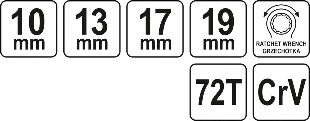 Cheie tubulara dubla YATO, cu clichet, CrV, 72T, 10-13-17-19mm 2