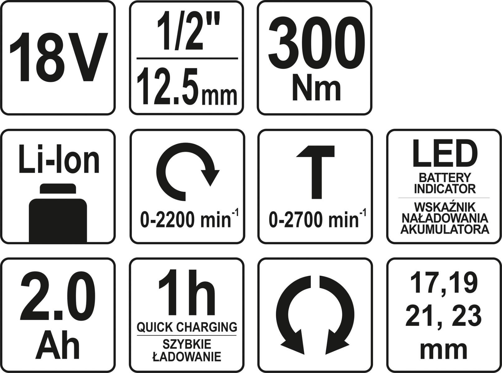 "Surubelnita de impact YATO, 1/2"", 18V, 1 X 2Ah, Li-Ion, 300Nm 8"